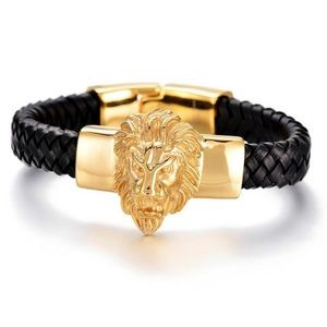 Other - Black Leather Stainless Silver/Gold Lion Head
